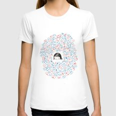 she mostly dreams in cats  Womens Fitted Tee White SMALL