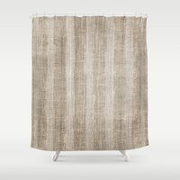 Striped Burlap (Hessian … Shower Curtain