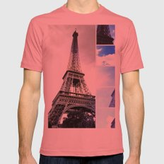 Eiffel Tower Blue Photo Collage Mens Fitted Tee Pomegranate SMALL