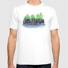 Water Living in Amsterdam by Charlotte Vallance Mens Fitted Tee White SMALL
