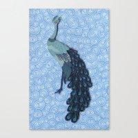 Peacock - Paper Art Canvas Print