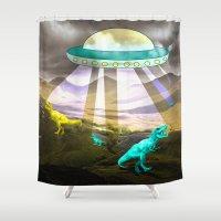 Aliens do exist - dino exctinction event Shower Curtain