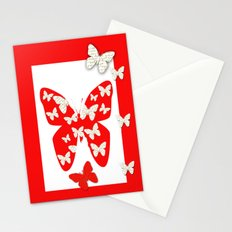 French script butterflies Stationery Cards