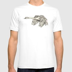 Flying Swan White Mens Fitted Tee SMALL