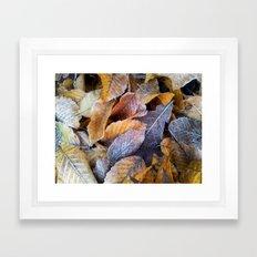 Frozen leaves Framed Art Print