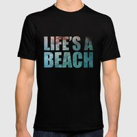 LIFE'S A BEACH Mens Fitted Tee Black SMALL