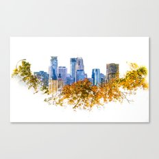 Minneapolis Skyline  --  double exposure with treetops Canvas Print