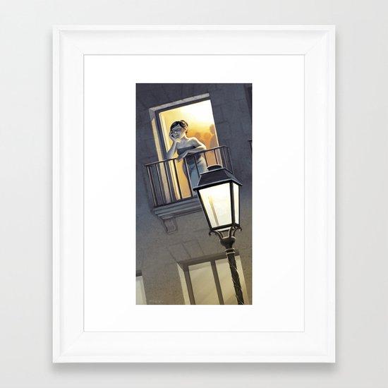At the window / A la fenêtre Framed Art Print