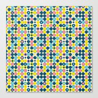 Funny Polkas-Blue and pink Canvas Print