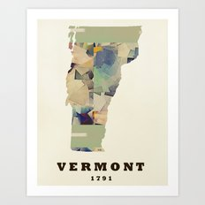 Vermont state map Art Print