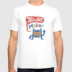 Trouble Maker Mens Fitted Tee SMALL White