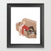 the drooling human blanket Framed Art Print