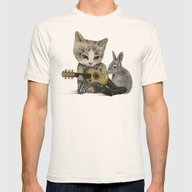 THE CAT AND THE RABBIT Mens Fitted Tee Natural SMALL