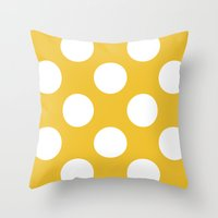Yellow and dots Throw Pillow
