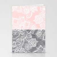 Elegant floral lace gray wood pastel pink block  Stationery Cards