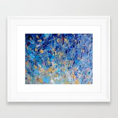 HYPNOTIC BLUE SUNSET - Simply Beautiful Royal Blue Navy Turquoise Aqua Sunrise Abstract Nature Decor Framed Art Print