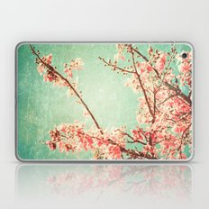 Pink Autumn Leafs on Blue Textured Sky (Vintage Nature Photography) Laptop & iPad Skin