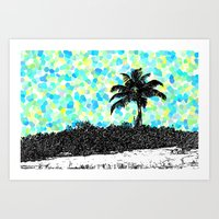 Palm Tree - Turquoise Points Art Print