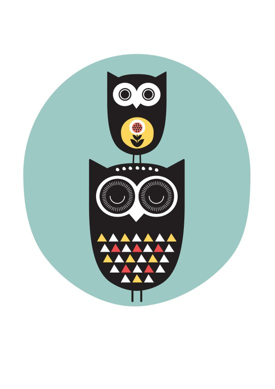 Owl décor - modern nursery art - geometric pattern Art Print