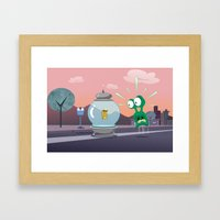 ALIEN TROUBLE Framed Art Print