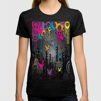 Vector City Grunge. Womens Fitted Tee Tri-Black SMALL
