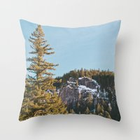 Trees in the Mountains Throw Pillow