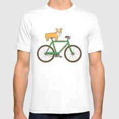 Corgi on a bike White SMALL Mens Fitted Tee