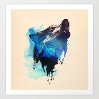 wolf Art Prints featuring Alone as a wolf by Robert Farkas