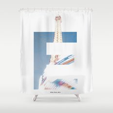 E for Eiffel Shower Curtain