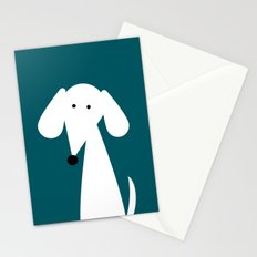 White Dachshund - Turquoise  Stationery Cards