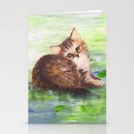 Cute Brown Kitten Stationery Cards