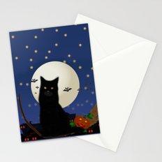 Halloween cat, Halloween, cat, moon, pumpkin, Halloween pumpkin, Halloween night, bats Stationery Cards