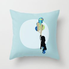Little Girl With Balloons Throw Pillow