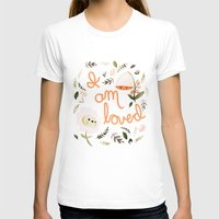 I Am Loved Botanical Print Womens Fitted Tee White SMALL