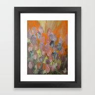 Flower Garden At Sunset Framed Art Print