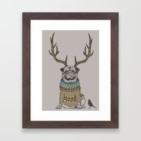 Deer Pug Framed Art Print