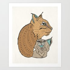 Mama And Baby Lynx Art Print