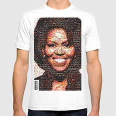 BEHIND THE FACE Michelle Obama | fat women Mens Fitted Tee White SMALL