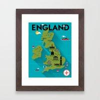 Poster of England Map Framed Art Print