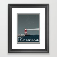 Visit Lake Michigan  Framed Art Print
