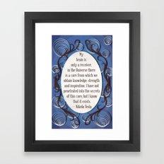 Nikola Tesla quote, Inspirational poster quilled border Framed Art Print