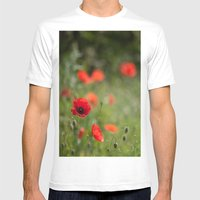 Field of poppies Mens Fitted Tee White SMALL
