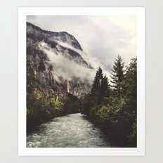 Swiss River & Forest Art Print
