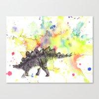 Stegosaurus Dinosaur in Splash of Color Canvas Print
