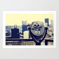 Sightseeing Telescope Over Pittsburgh Art Print