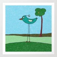 Tall Bird And A Tree Art Print