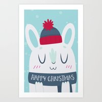 Cozy Winter Rabbit Christmas Card Art Print