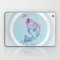 Bass jumping In Blue Circle3 Laptop & iPad Skin