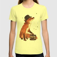 Fox in hat, office decor, gift for the boss, fox, fox painting, British fox Womens Fitted Tee Lemon SMALL