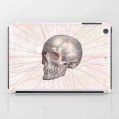 Abstract Gray Vintage Skull Modern Pink Stripes iPad Case